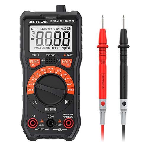 Multímetro Meterk 2000 Cuentas Multímetro Digital Multi Tester AC/DC Resistencia Capacidad ncv-116 de Frecuencia de Prueba Prueba Medición de Temperatura Continuidad Trasero Lluminación Pantalla LCD