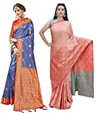 Peegli Saree 2 TanchuiアートシルクとKanjivaramアートシルクサリーの女性のパック青とサリー織りオレンジ