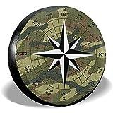 WCHAO Cubierta del neumático Brújula Vintage Poliéster portátil Rueda de Repuesto Universal Cubierta del neumático Cubiertas de Las Ruedas