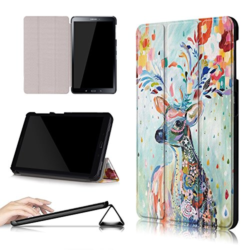 Xuanbeier Ultradünne Hülle Kompatibel mit Samsung Galaxy Tab A 10.1 2016 SM-T580/T585 (A6) Tablette Schutzhülle mit Ständer und Auto Schlaf/Wachen Funktion,Hirsch