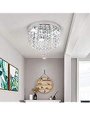 Led-plafondlamp, moderne kristallen kroonluchter, roestvrijstalen hanglamp voor slaapkamer, woonkamer, eetkamer