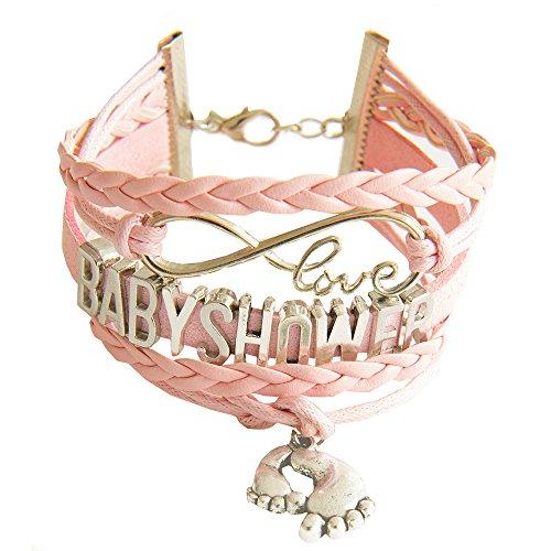 Kiss Me! Schattige babyshower charm armband roze gevlochten lederen armband zilveren liefde en voetjes hanger geboorte doop gastgeschenk mama babydouche wordende moeders