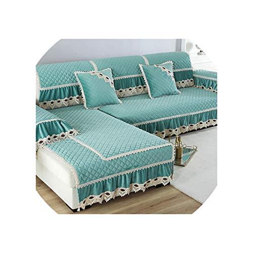 Dawn & Rose Europe Sofabezug für Wohnzimmer, aus Plüsch, mit Spitze, Dekoration, Ecksofa, Handtuch, Möbelschutz, grün, 1 Stück, 70 x 90 cm, 1 Stück