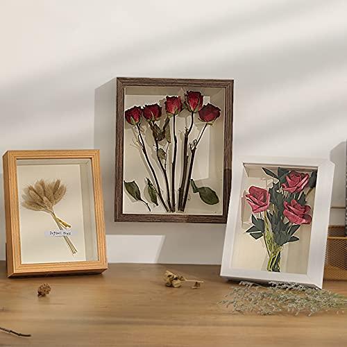 Caja de sombra de flores,3D Marco de Fotos de profunda,ramo de boda,medallas,fotos,caja de memoria para recuerdos,Marco para Objetos de hasta 3cm,Portafotos Cuadrado para Colgar en la Pared Escritorio