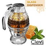 Bottom Flow Honey Dispenser No Drip Glass. 8oz for Easy Pouring of Syrup, Sugar, Sauces, Condiments....