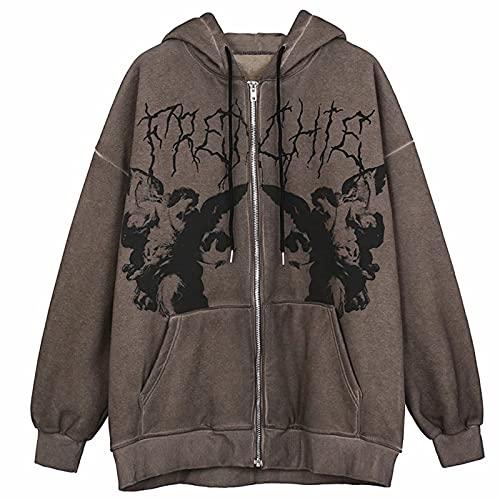 Women's Y2K E-Girl Cute Angel Printed Oversized Sweatshirt Zip Up Hoodies Coat Long Sleeve Streetwear Jacket(A-coffee,M)