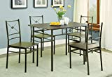 5-piece Rectangular Dining Set Dark Bronze and Walnut
