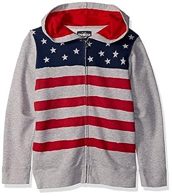 Osh Kosh Boys' Kids Full Zip Hoodie, Gray Flag, 10