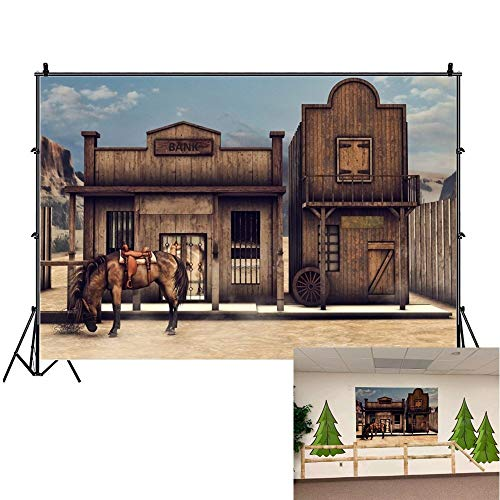 OFILA Western Party Backdrop 7x5ft Wild West Photography Background West Cowboy Party Decoration Kids Country Theme Photos Cowgirl Birthday Background Horse Party Backdrop Ancient Bank Studio Props