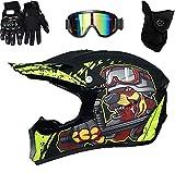 ERTLKP Casco de MTB de cara completa, casco de Motocross MX, casco de motocross para niños, casco de cara completa con gafas de guantes, máscara de choque, casco de dibujos animados para niños (A,L)