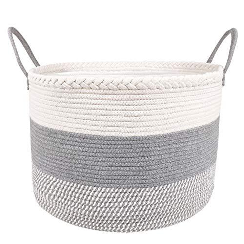 Cesta de Almacenamiento de Cuerda de algodón, Grande Cesto de la Ropa Inicio Niño Organizador de Juguete de Ropa 18.5