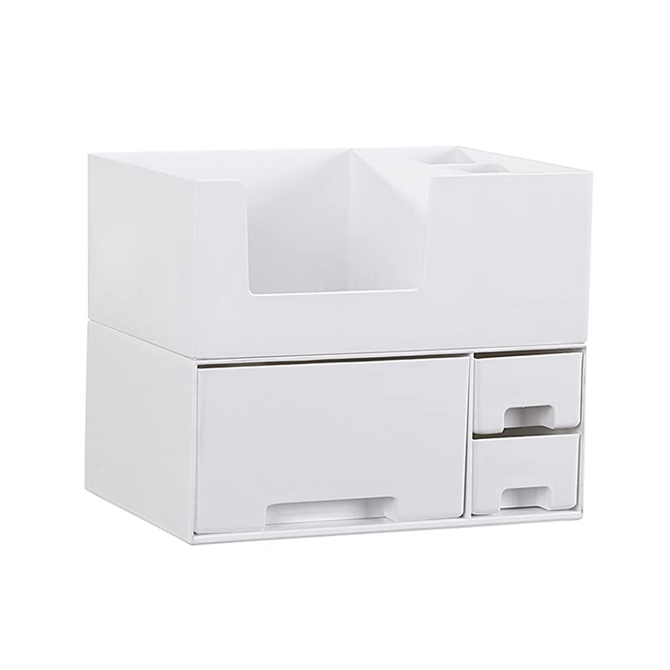 キュービック対応する資料デスクトップ化粧品収納ボックス、スキンケア製品、フェイシャルマスク、ジュエリー、収納ラック、白い2階建て多目的収納ボックス