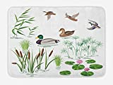 MSGDF Rubber Duck Bath Mat, Lake Animals and Plants with Lily Flowers Reeds Cane in The Pond Nature...