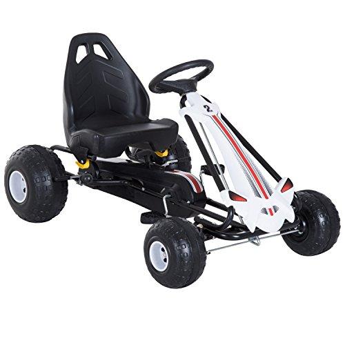 homcom Go-Kart a Pedali per Bambini con Freno e Frizione 101.5 × 65.5 × 59.5cm Bianco-Nero