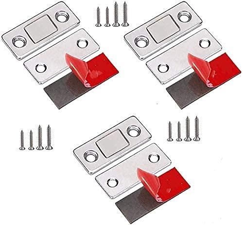 Tapones magnéticos invisibles ultrafinos, de acero inoxidable, imanes adhesivos para cajón, cierre magnético sin perforaciones..
