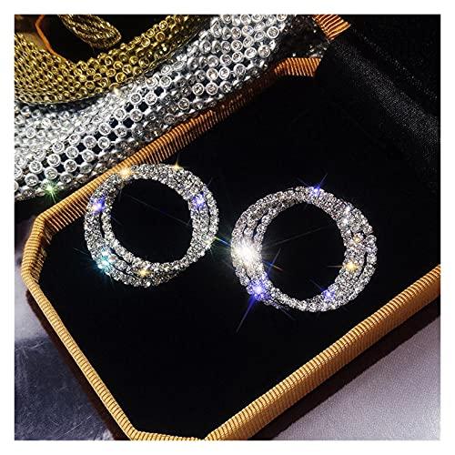 ABCBCA Moda Piccolo Cerchio Orecchini Orologio in Oro di Lusso in Argento Color Rhinestone orecchino Donne Matrimoni Gioielli Festa (Metal Color : Silver)