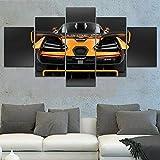 Impresiones sobre Lienzo Unique Luxury Orange Sport Car 5 Cuadros En Lienzo Modernos Salón Decoracion Murales Pared Lona XXL Grande Hogar Dormitorios Arte Pared HD Impresión Foto