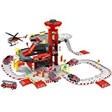 NEWRICE 3-Floors City Rescue Station Parking Lot Toy Set, with Lights & Sounds,1Helicopter+6pcs Metal Die- Fire Toy cast Cars,Track,Garage,Electric Lift.for 2.3.4.5.6 Year Boys & Girls/Kids