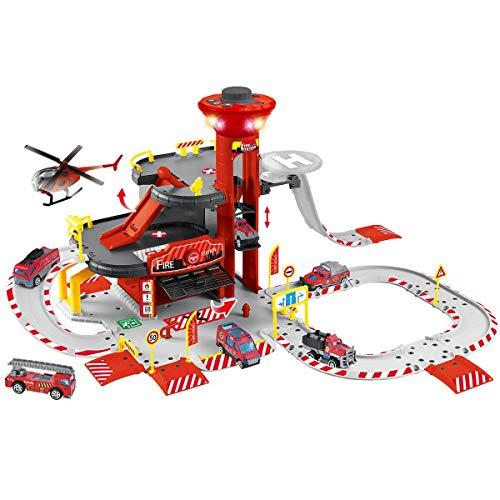 NEWRICE Rescue Station Parkplatz Spielzeug,mit Lichtern&Geräuschen,1 Hubschrauber.6pcs Metalldruckguss Autos.Schiene.Garage.elektrischer Aufzug Für 3–6 Jahre Jungen und Kinder