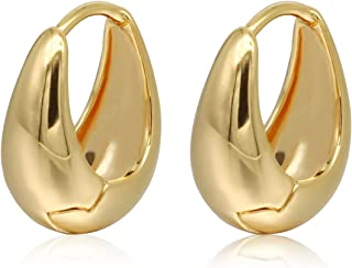 BOZONY 18K Gold Plated Earrings Small oval Earrings for women (oval) 18.3mm
