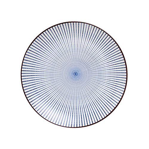BUTLERS Dim Sum Teller Ø 25,5 cm - Asiatischer Essteller mit blauem Muster - Servierteller, Speiseteller, Keramikteller