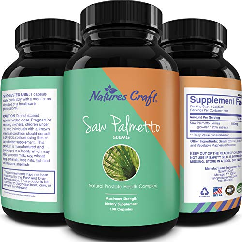 Natures Craft's Saw Palmetto Extract Berry Hair Loss Supplement for Hair Growth for Women and Men, Potent Prostate Support Pills with Pure Saw Palmetto 25% a Natural Acne Skin Care 500 mg