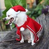 Fontee® Chien Noël Rouge Manteau Velours Cape Déguisements pour Chiot Capes de Costume et Chapeau de Noël pour Animal de Compagnie