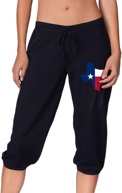 Pantsing Texas States Flag Women's Fit Active French Terry Capri Pants