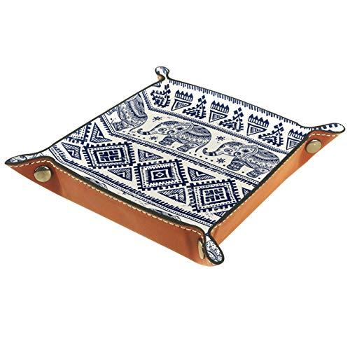 Bandeja de Cuero - Organizador - Elefante étnico - Práctica Caja de Almacenamiento para Carteras,Relojes,llaves,Monedas,Teléfonos Celulares y Equipos de Oficina