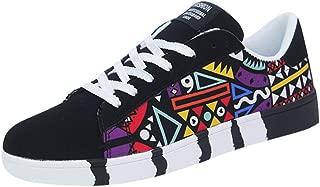 NUWFOR Men's Fashion Casual Lace-Up Colorfor Canvas Sport Shoes Sneakers Graffiti Shoes(Black,8 M US)
