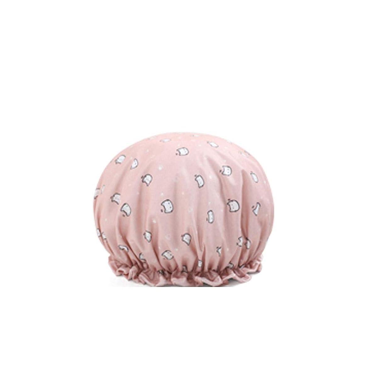雲ホイスト佐賀HENGTONGTONGXUN シャワーキャップ、シャワーキャップ防水、大人の女性のシャワーキャップ、シャワーのシャワーキャップ、かわいいキッチンの耐油キャップ、黄色、ピンク、青、赤 (Color : Pink)