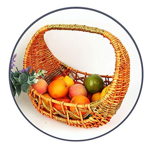 XIUJC Cesta de Mimbre Tejida a Mano con Huevos Cesta de bambú Cesta de la Compra Cesta de Fruta Artesanal Embalaje Decoración del hogar y Tejido