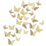 YXJD 72 Stück 3D Schmetterling Wandtattoo Aufkleber Wandsticker 3 Größen für Zimmer Deko Gold