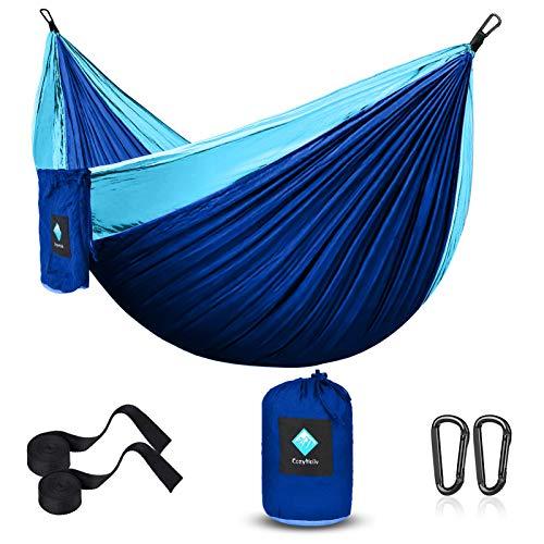 Camping Hammock, Single Portable Parachute Hammocks for Outdoor Hiking Travel Backpacking - 210D Nylon Hammock Swing for Backyard & Garden 55''W108''L (Sky/Sapphire Blue)