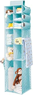 mDesign Long Soft Fabric Over Closet Rod Hanging Storage Organizer with 6 Divided Shelves, Side Pockets for Child/Kids Room or Nursery - Polka Dot Print - Turquoise Blue/White