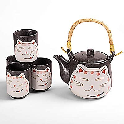 Hinomaru Collection Japanese Neko Cat Kitten Design Tea Set Ceramic Teapot with Strainer, Rattan Handle and 4 Tea Cups