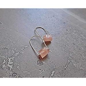 Raw Pink Morganite Modern Hoop Earrings Silver