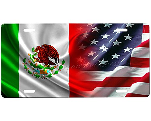 Mexican Flag/American Flag License Plate