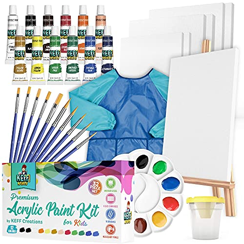 Beginner Painting Supplies for Kids - 34 Piece Nontoxic Acrylic Paint Set for...