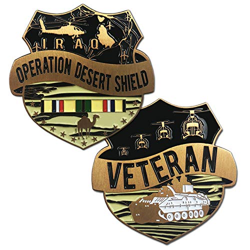 VetFriends.com Operation Desert Shield Veteran Challenge Coin with Tank, Helicopter, and Service Ribbon Graphics