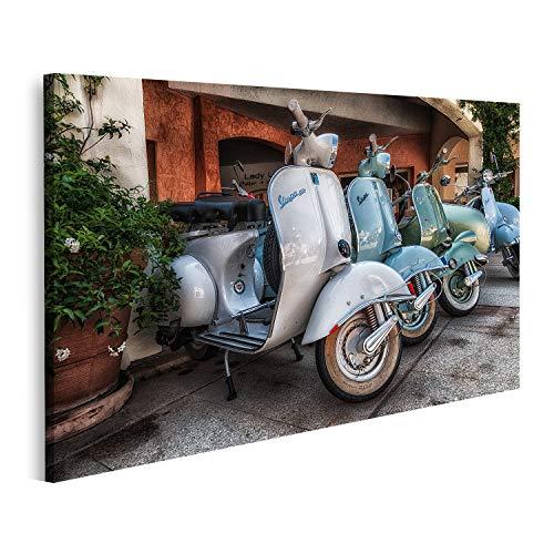 Bild auf Leinwand Porto Cervo Italien August Piaggio Vespa Vintage Sprint Motorroller Motorroller Motorrad Piaggio Vespa Vintage Bilder Wandbild Poster Leinwandbild