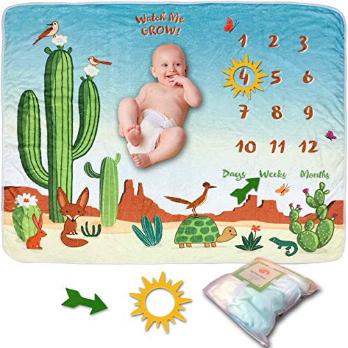 SnuggyBug Baby Monthly Milestone Blanket - Baby Photo Props and Growth Chart for Newborn Boy or Girl - Backdrop for Baby Pictures - Baby Shower Gifts for Boys and Girls - Large, 58x45 Inches