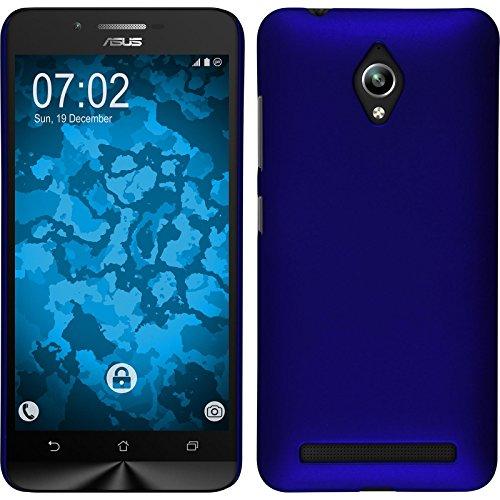 PhoneNatic Hülle kompatibel mit Asus Zenfone Go (ZC500TG) - Hülle blau gummiert Hard-case + 2 Schutzfolien