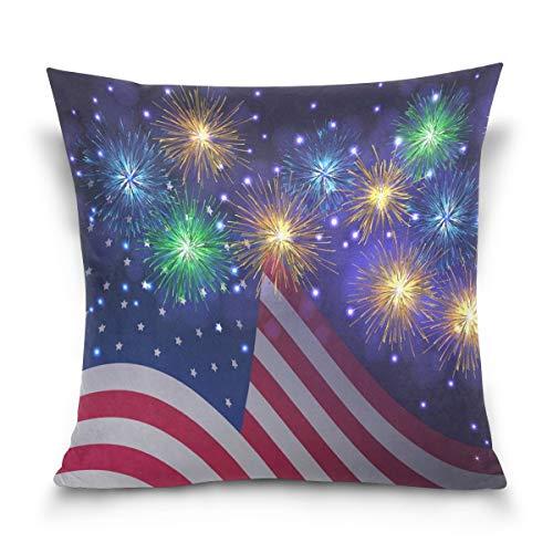 N\A Funda de Almohada de algodón con Estrellas y Rayas, Lados Gemelos, Funda de Almohada con Bandera de EE. UU. Estadounidense, Funda Protectora Decorativa para sofá de Hotel en casa, Ded