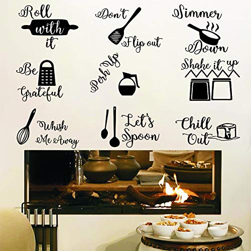 IARTTOP Kitchen Quotes Wall Decal, Roll It Let's Spoon Sticker, Black Cooking...