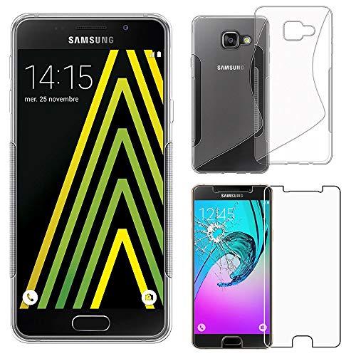 ebestStar - Cover Compatibile con Samsung A5 2016 Galaxy SM-A510F Custodia Protezione S-Line Silicone Gel Morbida Sottile, Trasparente +Pellicola Vetro Temperato [Apparecchio: 144.8x71x7.3mm 5.2']