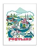 Stupell Industries Poster Portland Landschaft mit Fahrrad