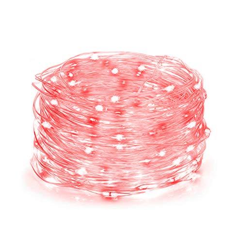 Micro LED, 100 LED Luci Stringa, Rosso micro String Luci natalizie per interni-cassaforte extra bassa tensione alimentato-10m/33ft di lunghezza illuminata con 3m/10ft Cavo d'argento