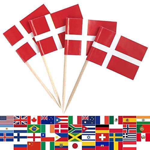 JBCD 100 Stück Dänemark-Flagge Zahnstocher Dänische Flaggen Cupcake Topper Dekorationen, Cocktail Zahnstocher Flagge Kuchen Topper Picks Mini Kleine Flagge Cupcake Picks Sticks
