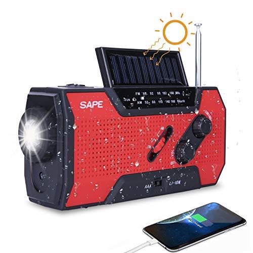 Solar Radio, Kurbelradio AM/FM Wiederaufladbare Dynamo Radio Wasserdicht LED Dynamo Lampe Powerbank für Wandern,Camping,Ourdoor,Notfall (Zinnoberrot)